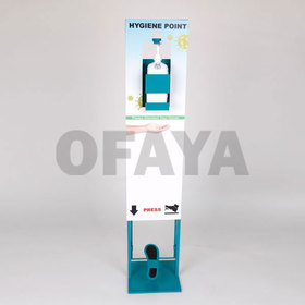 Dispenser for disinfectant on a metal stand